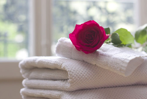 serviette de bain à disposition